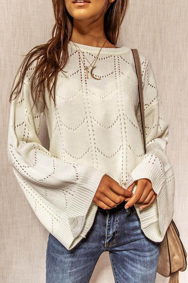 Elegant Geometric Hollow Out Knitted Bell Sleeves Ribbed Sweater