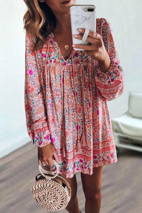 Long Sleeves Bohemian Print Mini Dress