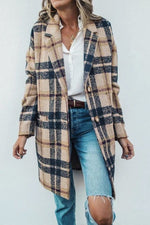 Fashion Casual Plaid Jacquard Lapel Collar Buttoned Long Coat