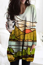Color Painting Nature Landscape Mountain Rivers Forest Sunrise Print T-shirt