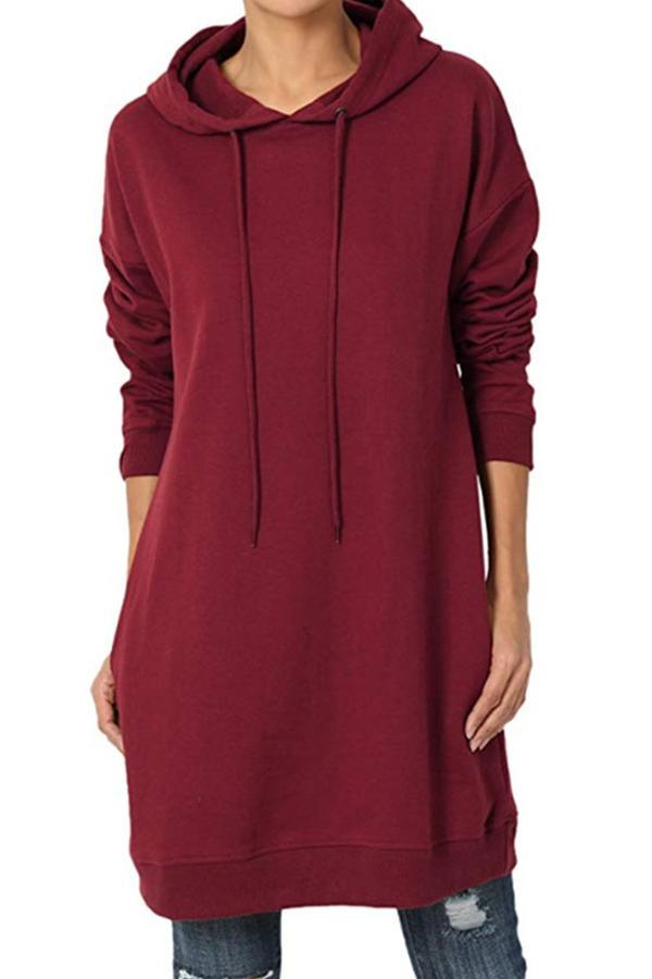 Casual Plus Size Hoodie Dress