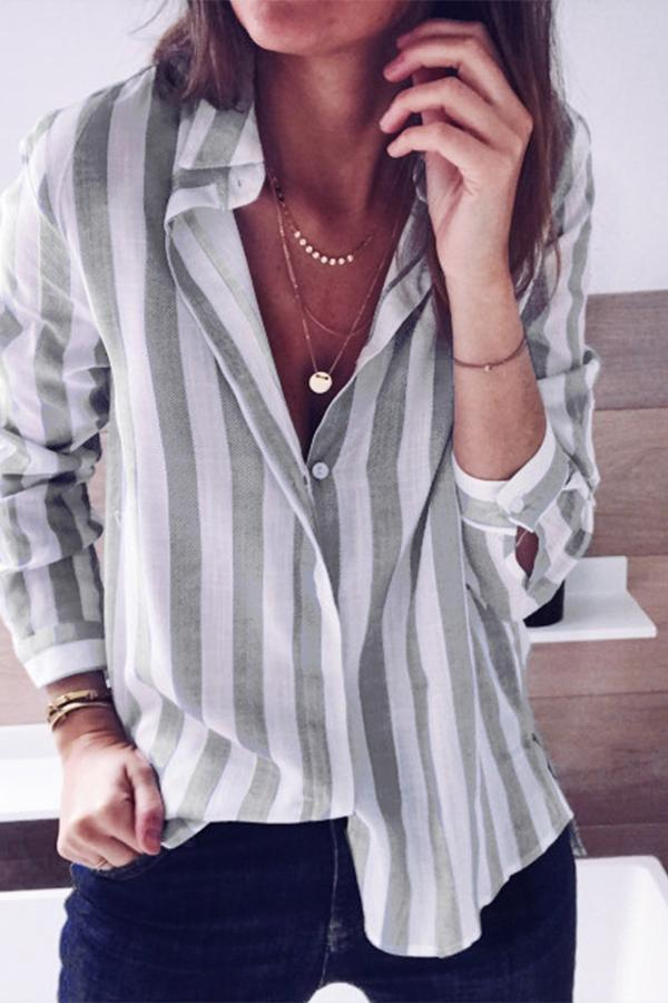 Shirt Collar Buttoned Stripe Blouses
