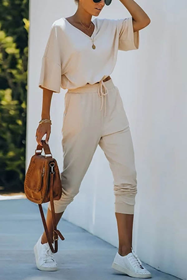 Casual Solid V-neck T-shirt With Pants Two-pieces Set