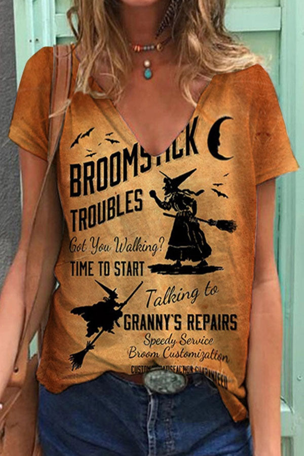 Broomstick Witch Flying In The Moon Sky With Broom Print Halloween Party T-shirt