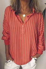 Long Sleeve Casual Shirt Collar Striped Blouse