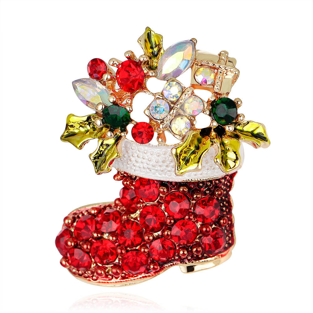 Christmas Shoes Full Of Floral Rhinestone Holiday Brooch