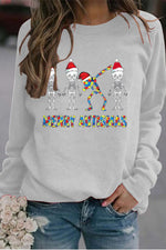 Colorful Merry Christmas Four Hiphop Skull Swag With Hat Print Sweatshirt