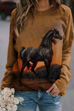 Nature Landscape Lifelike Black Horse On The Glound Stone Print T-shirt