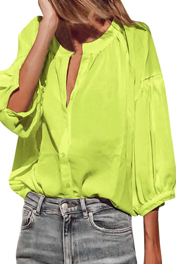 Casual Solid Buttons Down Balloon Sleeve Blouse
