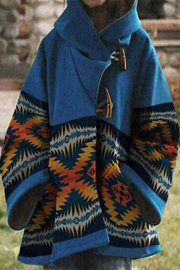 Ethnic Holiday AZTEC Print Horn Buckle Pockets Hooded Coat