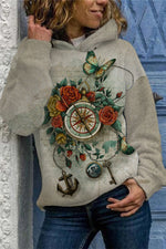 Ancient Vintage Rose Lifelike Butterfly Clock Gradient Print Hoodie
