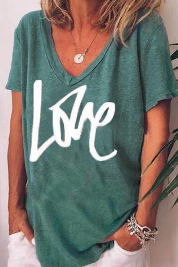 Love Letter Print Casual Short Sleeve T-shirt