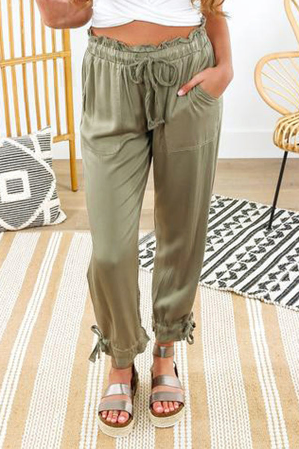 Casual Solid Loose Bow Pants