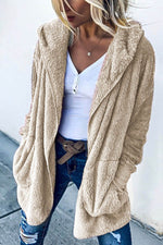 Casual Solid Fuzzy Ribbed Paneled Pockets Hooded Coat