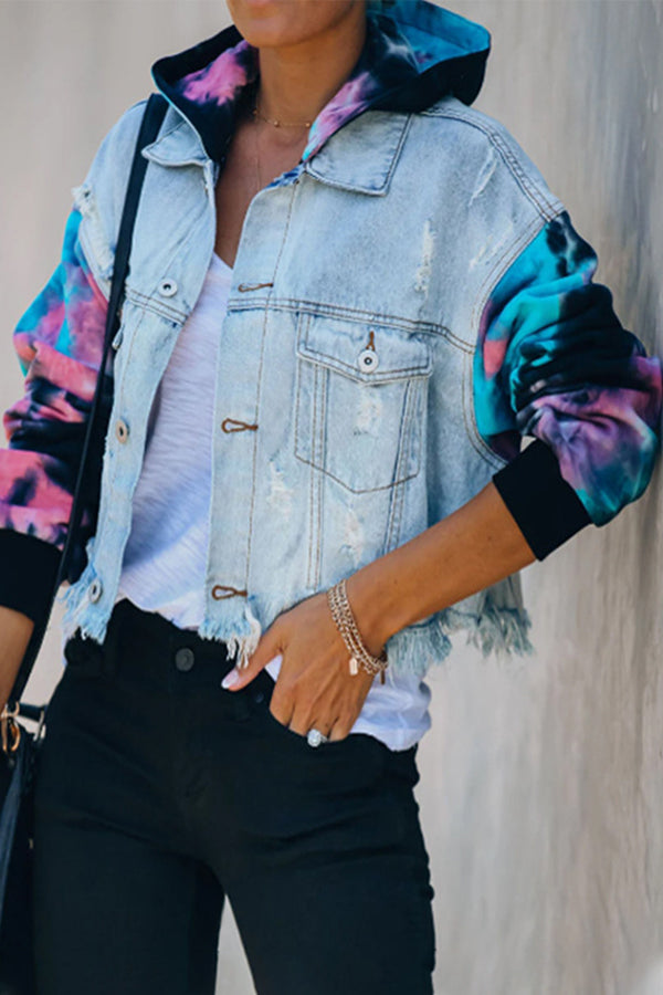 Street Fashion Color-block Gradient Jacquard Tassel Cutout Denim Hooded Jacket