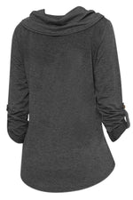 Roll Neck Button Design Pockets Sweatshirts
