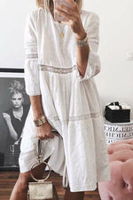 Hollow Out Flare Sleeve Crochet Stitching Lace Dress