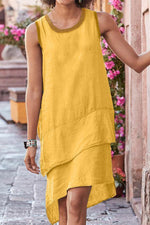 Sleeveless Round Neck Midi Dress