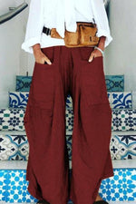Casual  Pockets Design Wide Leg Pants
