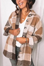 Urban Casual Plaid Jacquard Buttons Down Lapel Collar Coat
