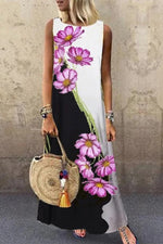 Sleeveless Color-block Floral Print Paneled Holiday Maxi Dress
