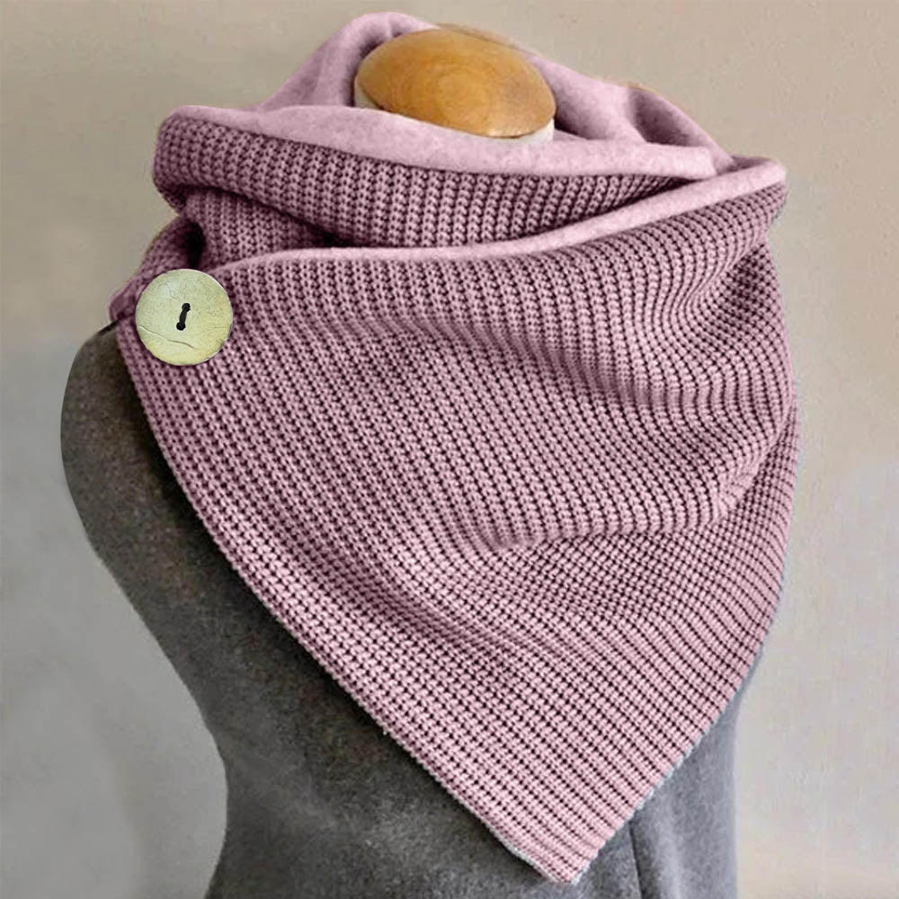 Warm Solid Knitted Ribbed Buttoned Simple Triangle Scarf