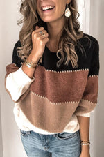 Casual Color-block Crew Neck Sweater
