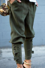 Casual Pockets Solid Color Pants