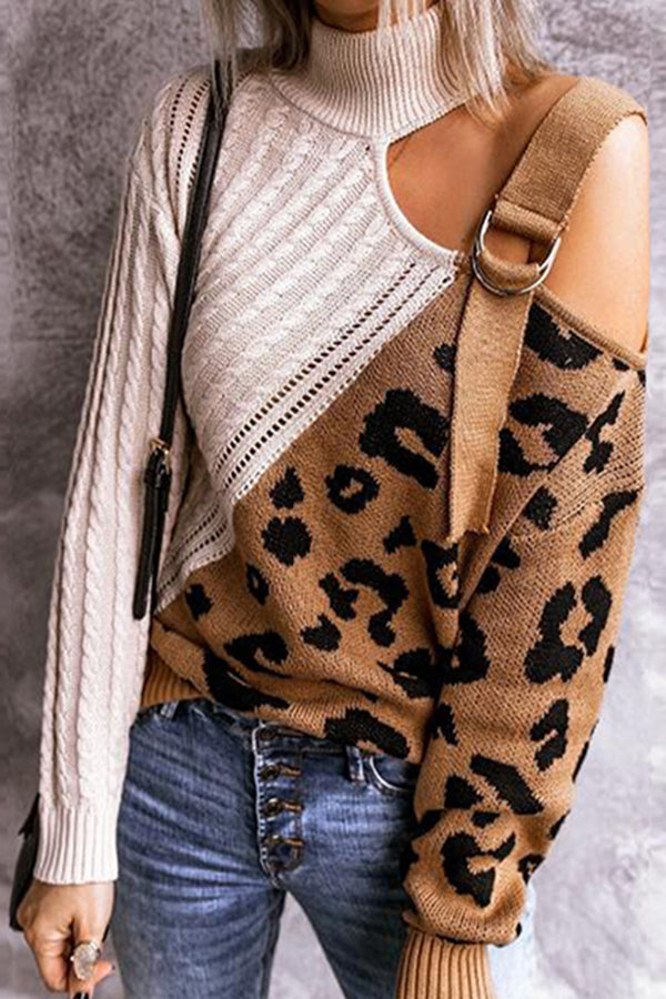 Street Color-block Leopard Jacquard Knitted Ribbed Turtleneck Asymmetric Leaky Shoulder Sweater