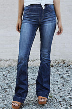 Solid Bell-bottomed Paneled Side Pockets Casual Jeans
