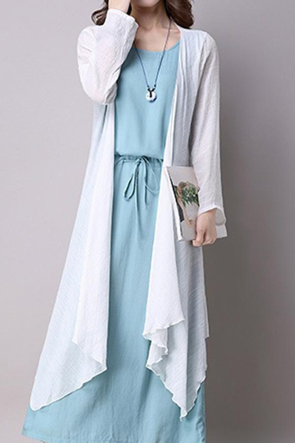 Casual Solid Set Coat With Maxi Dress