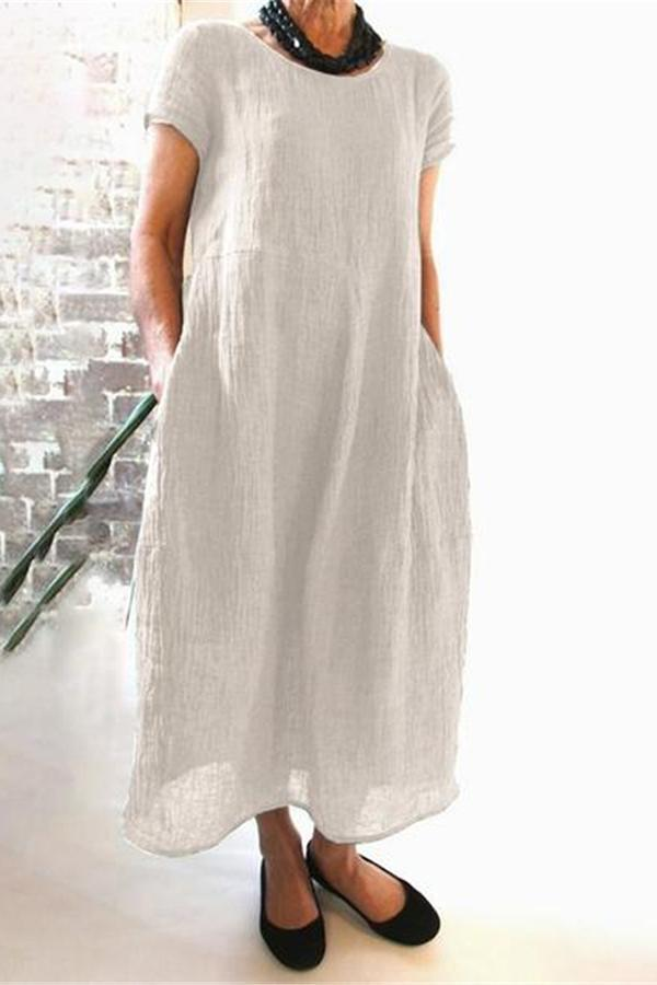 Casual Solid Crew Neck Maxi Dress