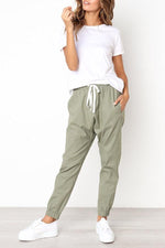 Casual Drawstring Pockets Pants