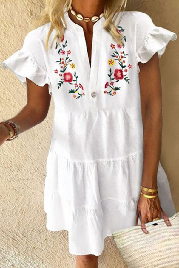 Holiday Floral Print Paneled Buttoned V-neck Bell Sleeves Midi Dress