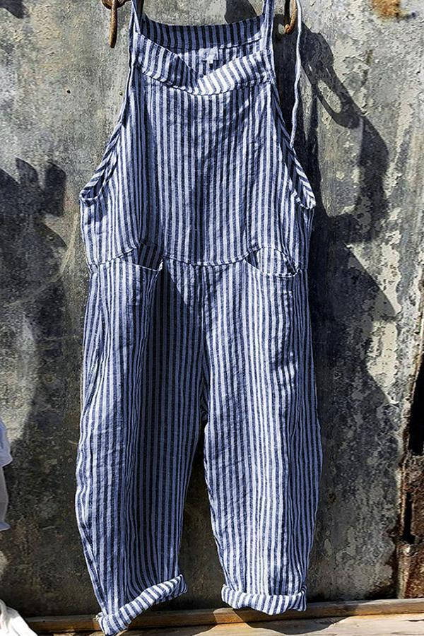Casual Stripe Pockets Loose  Jumpsuit