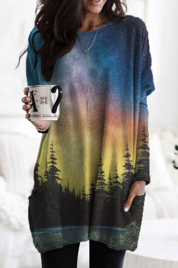 Gradient Starry Sky Forest Treetop Nature Landscape Print Sweety T-shirt