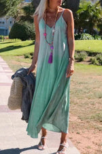 Gradient Print Sling V-neck Holiday Maxi Dress