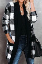 Classic Casual Black And White Plaid Jacquard Open Front Ribbed Coat