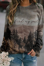 Vintage Gradient Landscape Mountain Forest Jacquard T-shirt