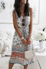 Floral Print V-neck Sleeveless Self-tie Midi Dress