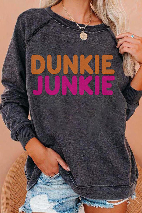 Dunkie Junkie Bold Letter Print Paneled Casual T-shirt