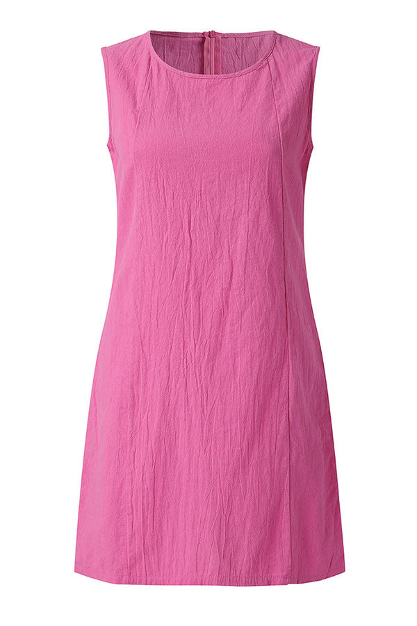 Solid Casual Sleeveless Round Mini Dress
