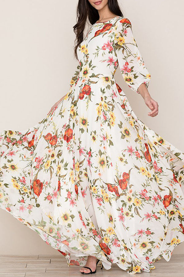 Casual Print Bohemia Half Sleeves Maxi Dress