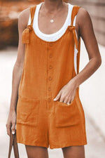 Casual Buton Up Pockets Shift Romper