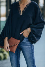 Elegant Paneled Lace V-neck Balloon Sleeves Solid Blouse