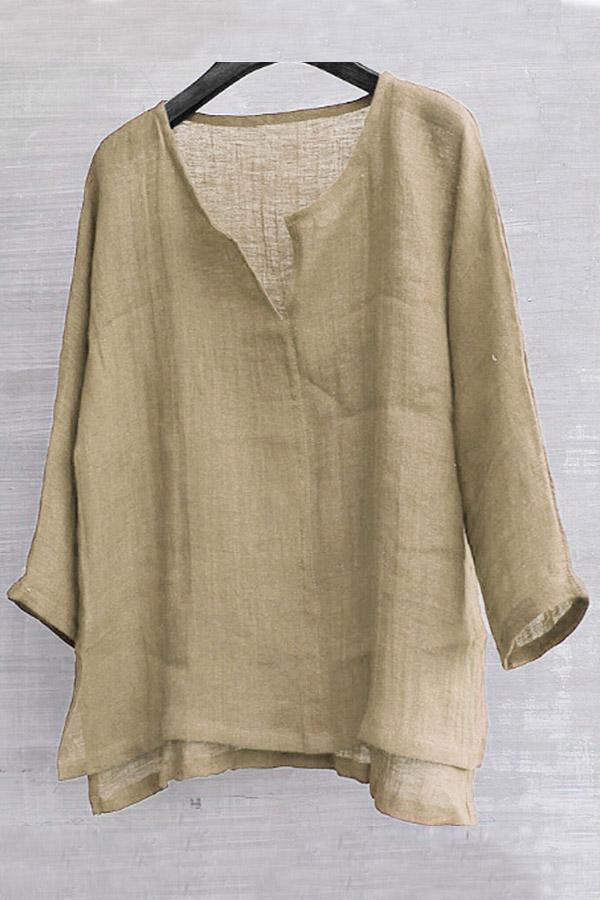 Solid V Neck Long Sleeves Linen T-shirts