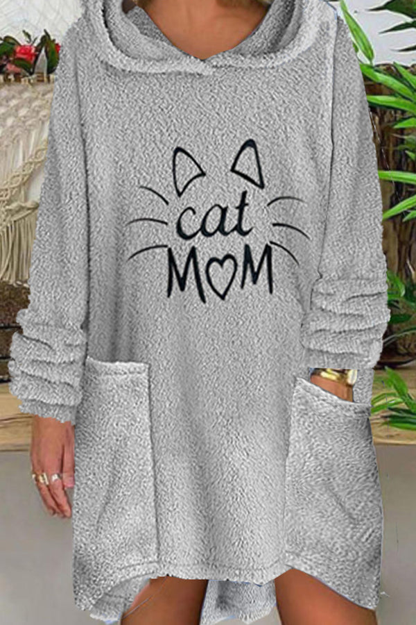 Cat Mom Embroidery Fuzzy Cartoon Ear Decoration Hoodie