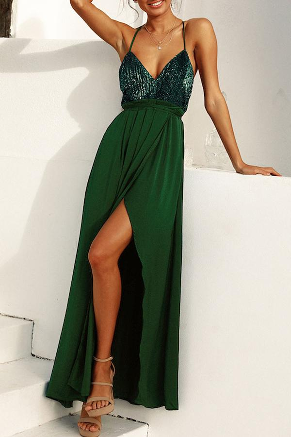 Sequins High Slit Self-tie Backless Maxi Dress