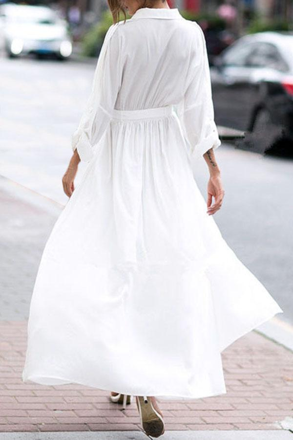 Casual Solid Lapel Collar Shirt Dress