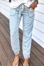Casual Solid Paneled Side Pockets Self-tie Jeans